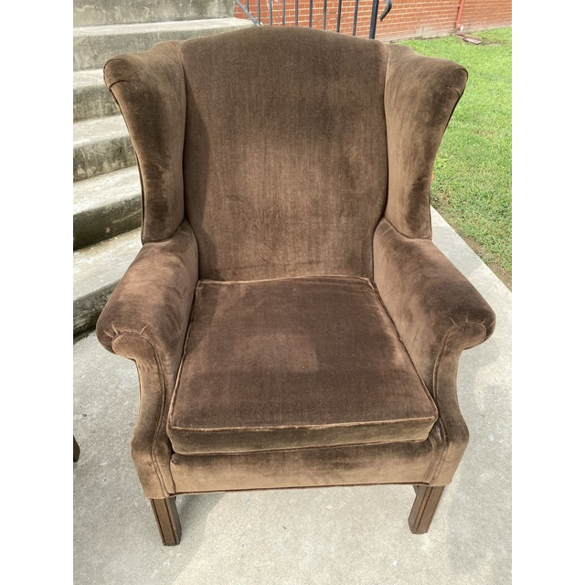 Ethan Allen Chocolate Brown Velvet Wingback Chairs- a Pair For Sale - Image 10 of 13