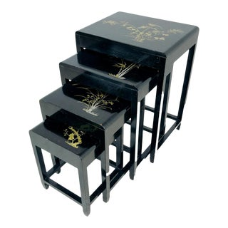Vintage Asian Inlaid Nesting Tables For Sale