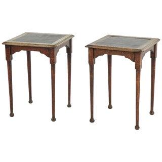 Green Tile Top Pub Tables - a Pair For Sale