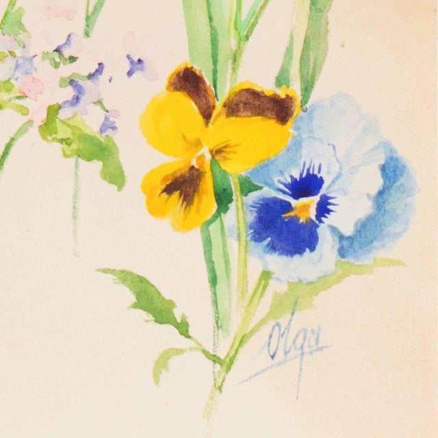 A finely-painted botanical study of poppies, irises, daffodils, pansies, forget-me-nots and other spring flowers. Signed...
