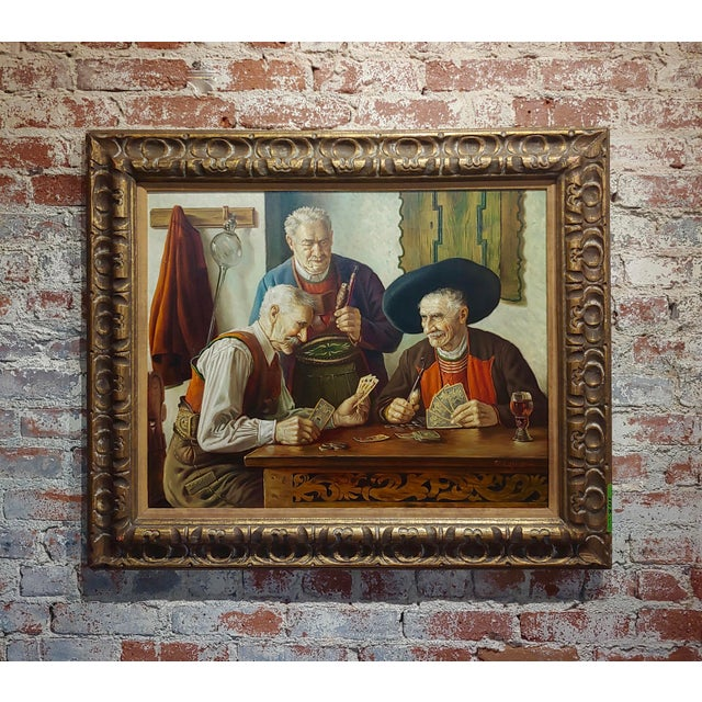 Otto Eichener -The Card Players -Oil Painting For Sale - Image 11 of 11
