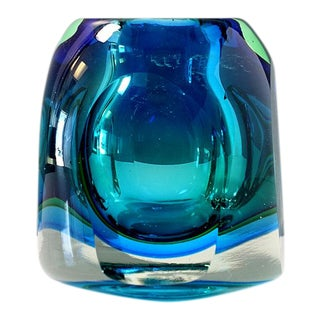 Flavio Poli Style Sommerso Blue Green Facet Cut Block Paperweight For Sale
