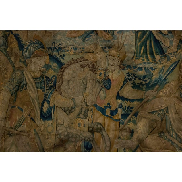 17th Century Antique Late 17th/Early 18th Century Belgian Tapestry Depicting Soldiers in a Genre Scene For Sale - Image 5 of 8