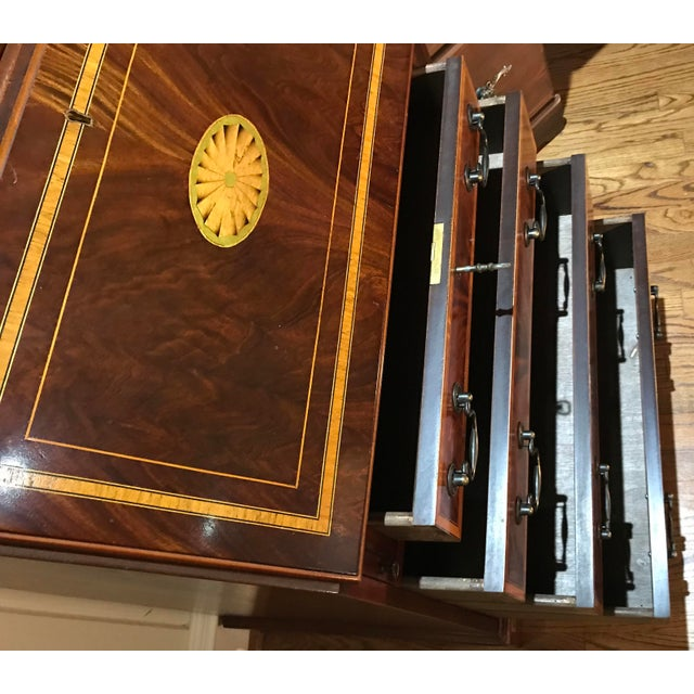 Mid 20th Century 20th Century English Inlaid Desk Secretary With Bookcase For Sale - Image 5 of 13