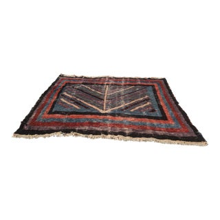 Handmade Vintage Boho Chic Silk and Wool Rug - 7′ × 7′3″ For Sale