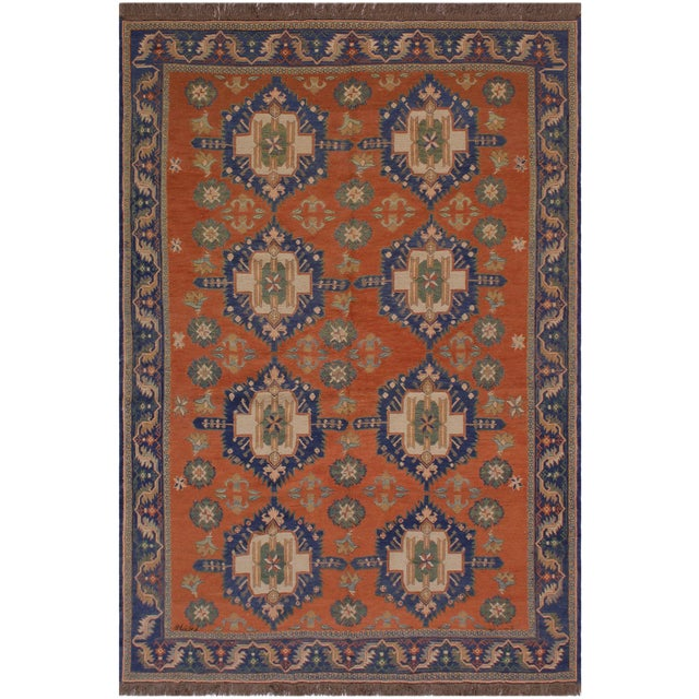 """1950s Antique Tribal Soumakh Sally Wool Rug - 6'7"""" X 9'2"""" For Sale"""
