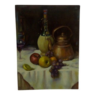 "Original ""Wine & Tea Kettle"" Still Life Painting on Board"