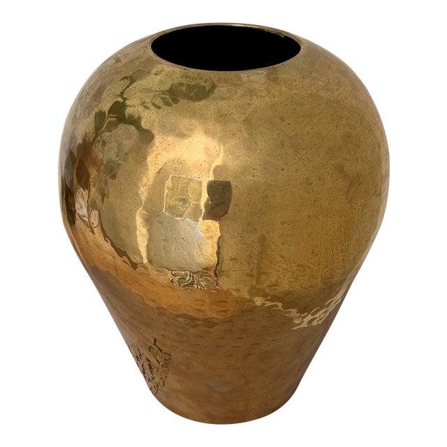 Vintage Hammered Brass Vase For Sale