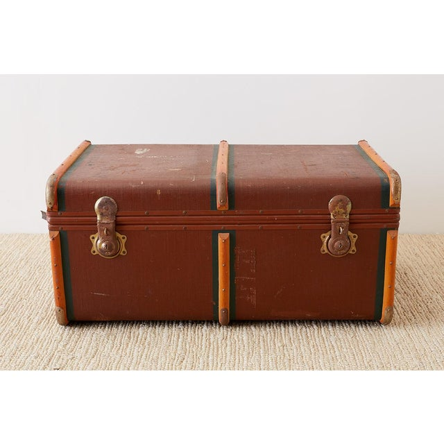 Art Deco Early 20th Century Painted Steamer Travel Trunk For Sale - Image 3 of 13
