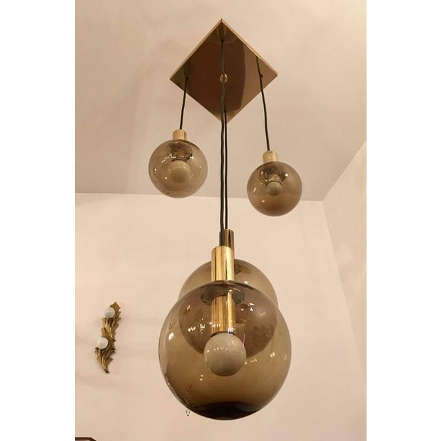 Brass 1970s Raak Dutch Smoked Glass Globe Ceiling Light For Sale - Image 8 of 10