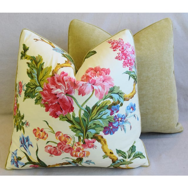 """French Brunschwig & Fils Floral Feather/Down Pillows 21"""" Square - Pair For Sale - Image 11 of 13"""