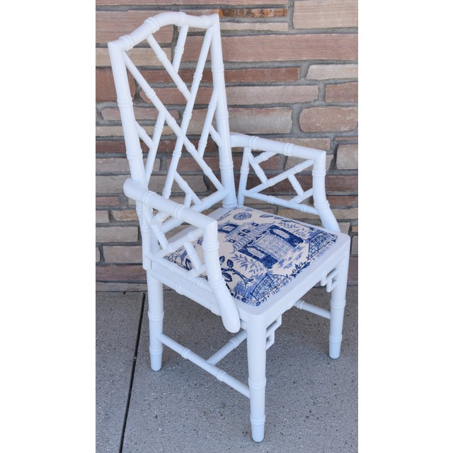 Blue 1950s Chinoiserie Faux-Bamboo Chippendale-Style Dinning Armchairs - Set of 6 For Sale - Image 8 of 13