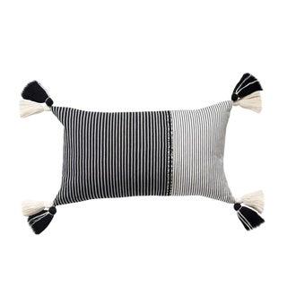 Black and White Striped Guatemalan Pillow
