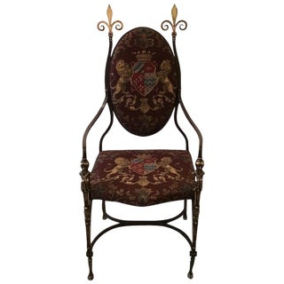 19th Century Handmade Wrought Iron & Burnished Brass Throne Chair For Sale