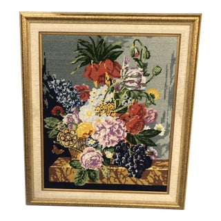 1980s Handmade Floral Still Life Needlepoint For Sale