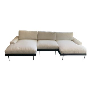 Brand New Custom White Double Chaise Sofa For Sale