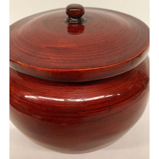 Vintage Bamboo Red Lacquer Covered Bowl Preview