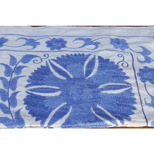 Early 21st Century Blue Suzani Tapestry Throw For Sale - Image 5 of 9