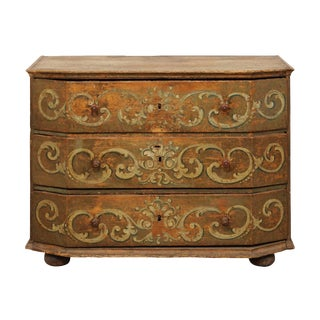 18th Century Italian Hand-Painted Wood Commode For Sale