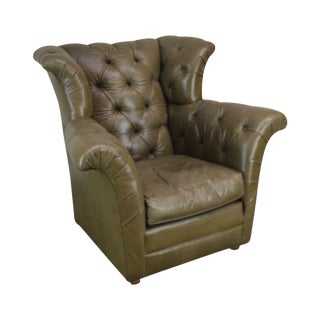 Old Hickory Tannery Green Tufted Leather Wing Chair For Sale
