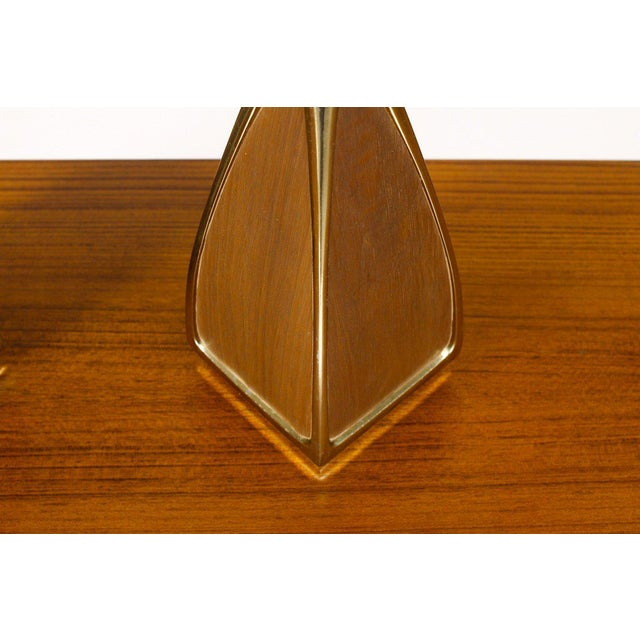 1960s Mid Century Vintage Laurel Brass & Walnut Table Lamp - a Pair For Sale - Image 5 of 6