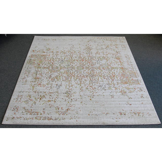 "Distressed Turkish Gray Orange Rug - 5'3"" x 7'7"" - Image 7 of 7"