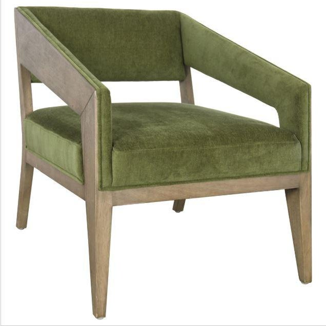 A fun take on a modern to mid century modern form. The green polyester upholstery softens the sharp lines of this accent...