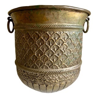 Large Textured Metal Plant Vessel With Side Rings For Sale