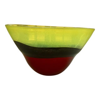Yellow and Red Blown Glass Bowl From Europe For Sale