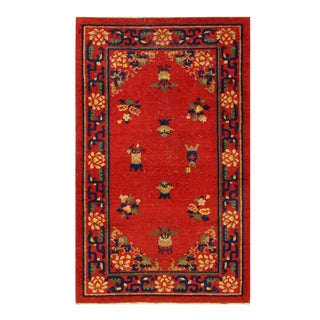 Pasargad Rust Antique Chinese Art Deco Rug-2'7'' X 4'5'' For Sale