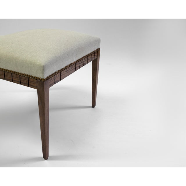American Wood Bench With Solid Seat and Hand-Carved Detail on Frame For Sale - Image 3 of 7