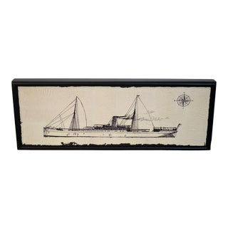 Canvas Wood Steam Ship Wall Art Showroom Sample For Sale