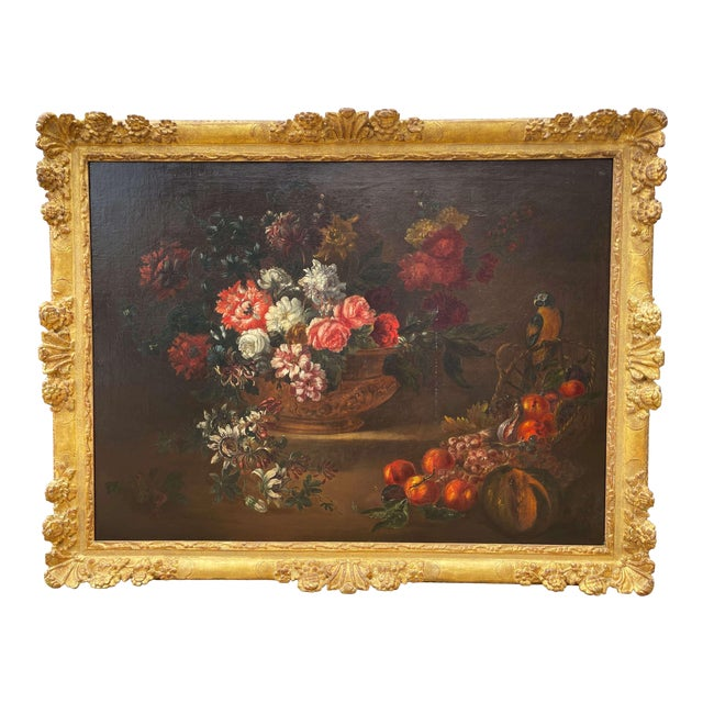 19th Century French Still Life Flower Oil Painting in Carved Gilt Frame For Sale