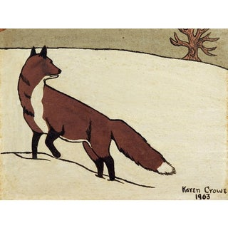 Fox in Snow Sand Painting For Sale