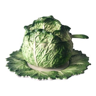 Vintage Italian Green Cabbage Soup Tureen For Sale