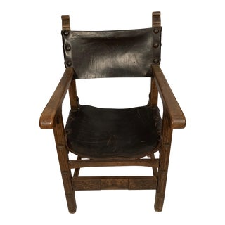 1910s Black Leather Sling Chair For Sale