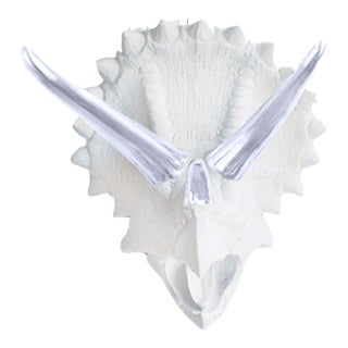 Wall Charmers White & Silver Faux Taxidermy Dinosaur Mount For Sale