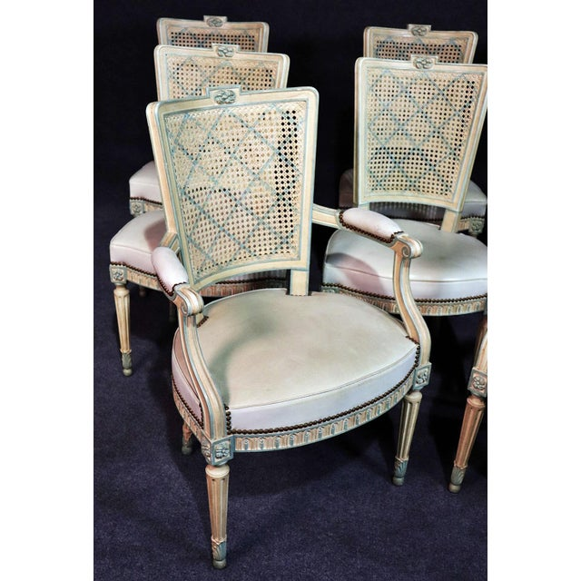 French Set of 8 French Louis XVI Style Caned Back Dining Chairs For Sale - Image 3 of 13