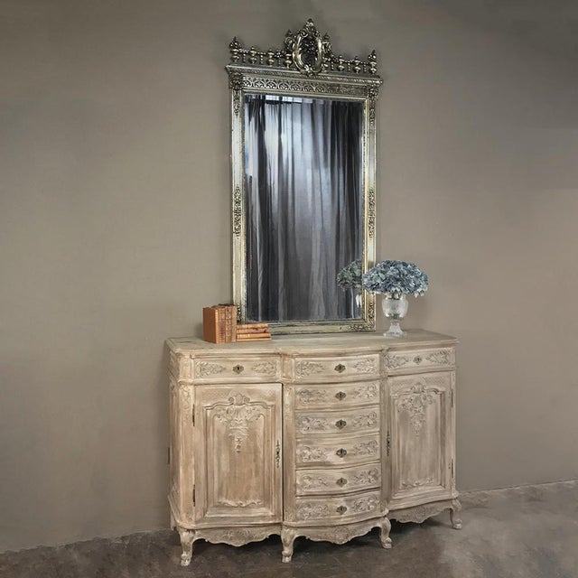 19th Century Liegeoise Regence Whitewashed Buffet features a splendid contour on the facade with a step-front drawer...