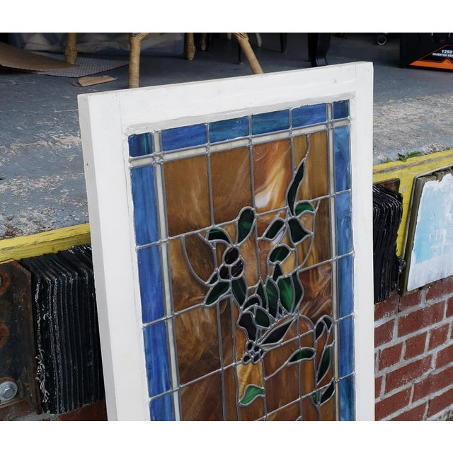 Vintage 1940s Stained Leaded Glass Hanging Window Panel 24