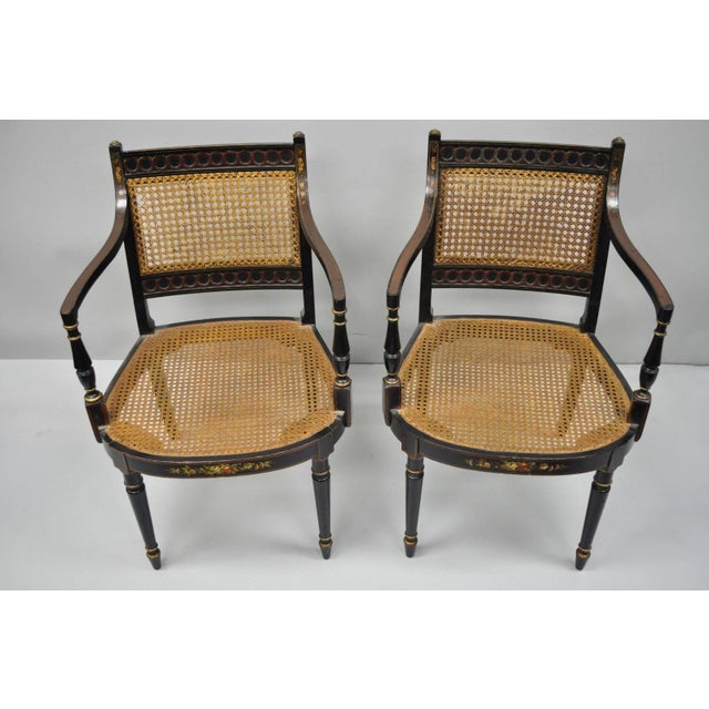 Early 21st Century Antique English Regency Style Black Lacquer Cane Armchairs- A Pair For Sale - Image 10 of 12