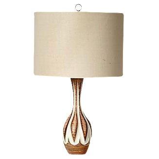 1960s Vintage Cream & Brown Lamp - Image 1 of 5
