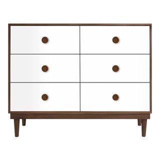 Nico & Yeye Lukka Modern Kids 6 Drawer Dresser Walnut White For Sale