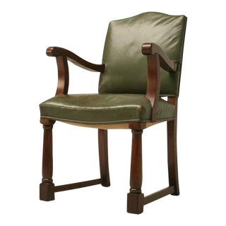 c.1920 English Oak Library Chair w/Arms For Sale