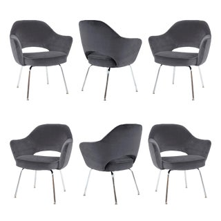 Saarinen Executive Arm Chairs in Gunmetal Velvet - Set of 6