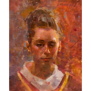 """James Crandall """"Head of Young Woman in Renaissance Costume"""" Oil Painting For Sale"""