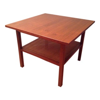 Mid Century Modern Two-Tier Walnut and Cane Side Table For Sale