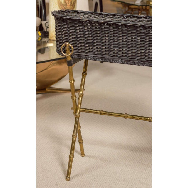 Mid-Century Modern Jacques Adnet Wicker Planter With Gilt Brass Bamboo Base For Sale - Image 3 of 7