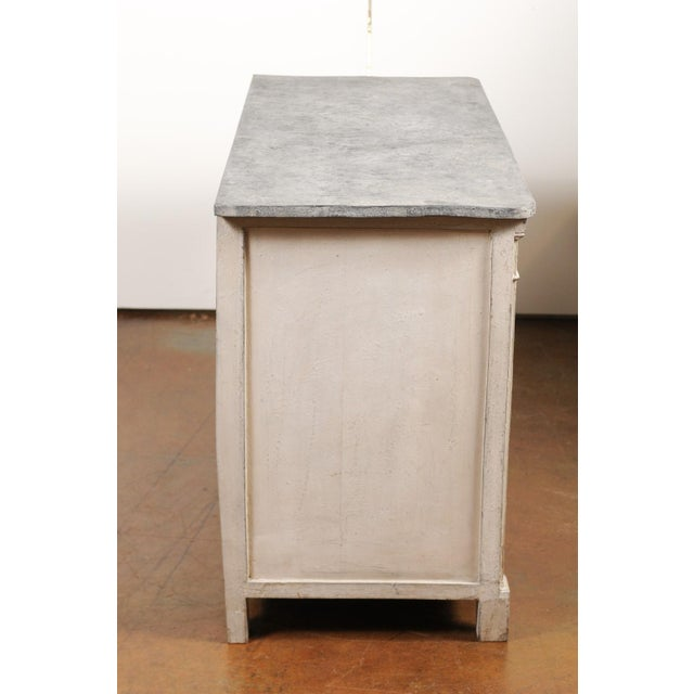Belgian 1850s Gustavian Style Three-Drawer Painted Commode with Faux-Marble Top For Sale - Image 10 of 13