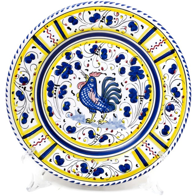 Vintage Hand-Painted Deruta Maiolica Rooster Plates - a Pair For Sale In San Francisco - Image 6 of 9